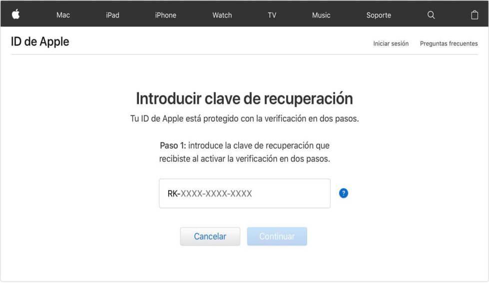 Desbloquear Apple ID usando Clave de Recuperación