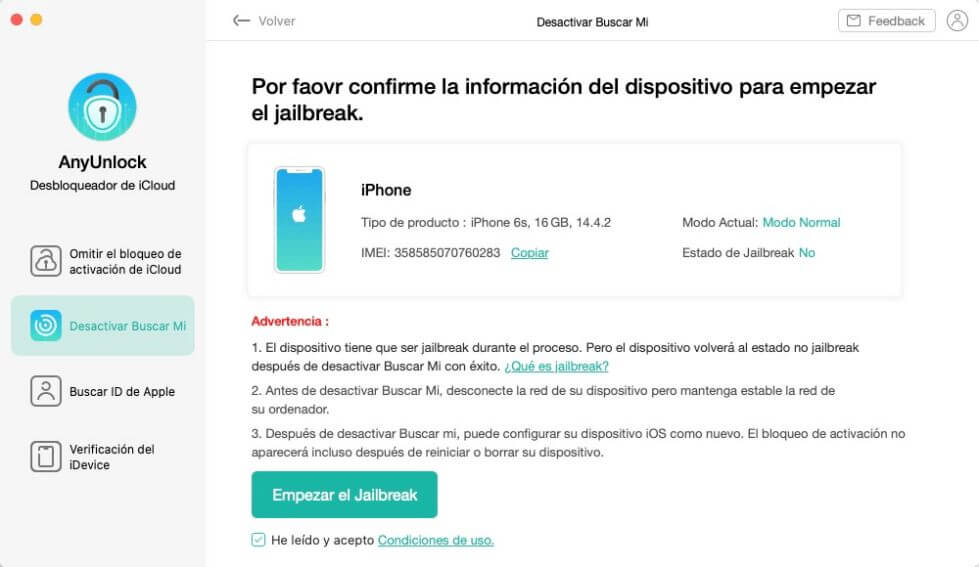 Confirmar para Desactivar Buscar Mi iPhone