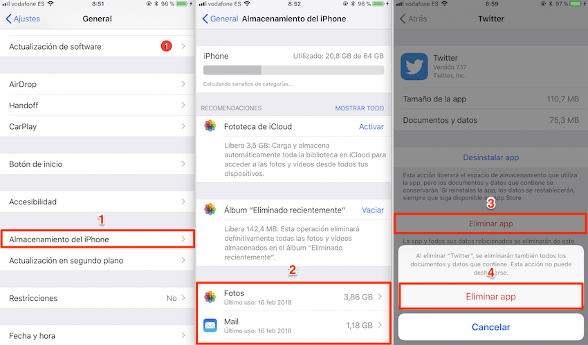 Cómo borrar caché iPhone - Método 1