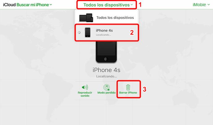 Cómo borrar iPhone sin contraseña utilizando iCloud