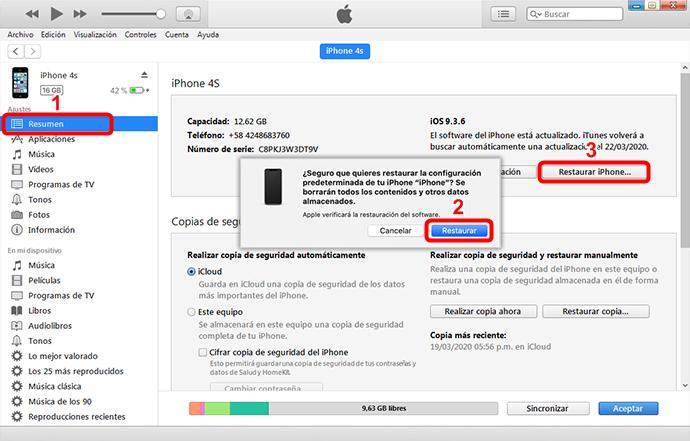 Cómo borrar iPhone sin contraseña utilizando iTunes