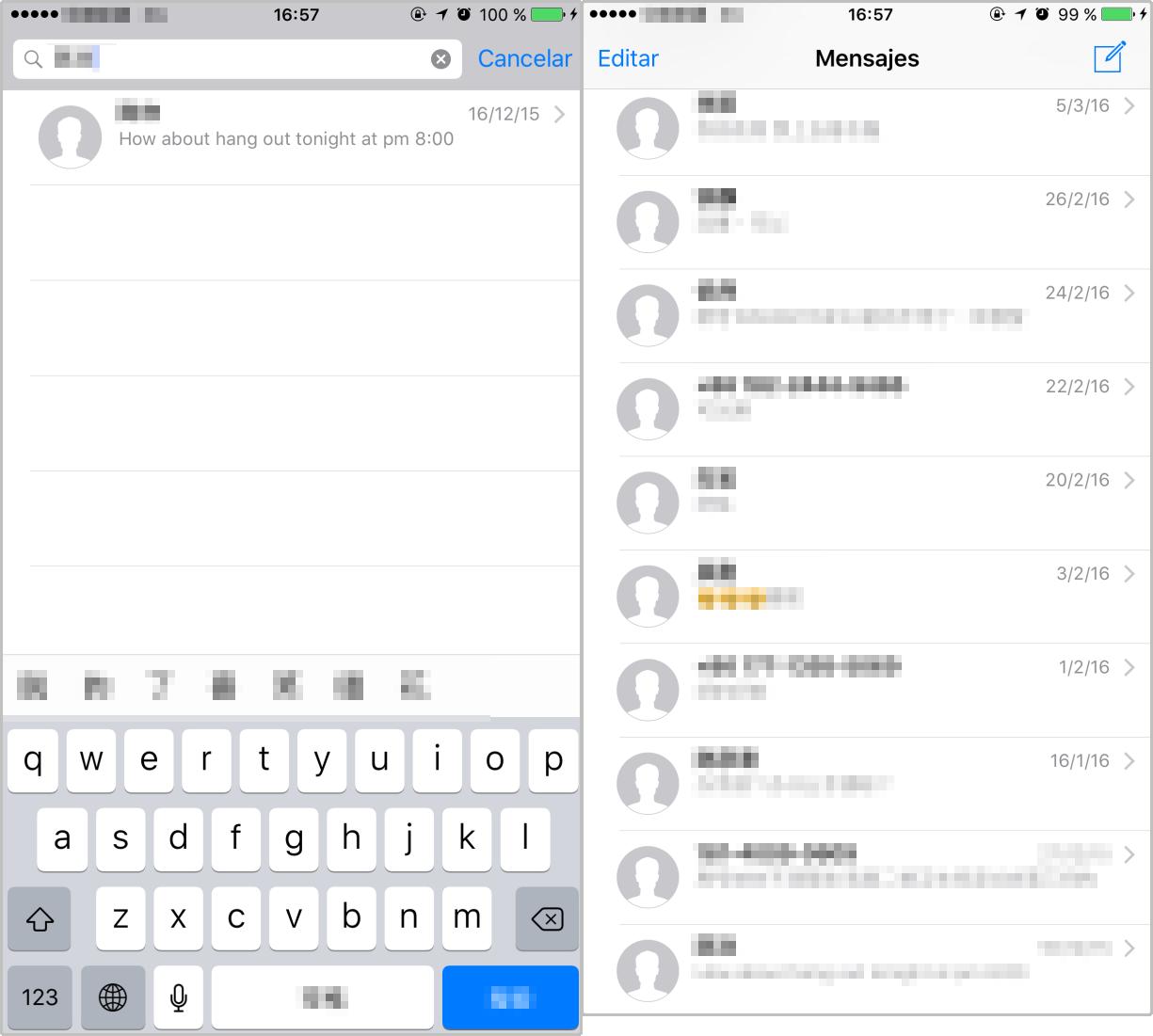 Cómo buscar mensajes en el iPhone en App Mensaje