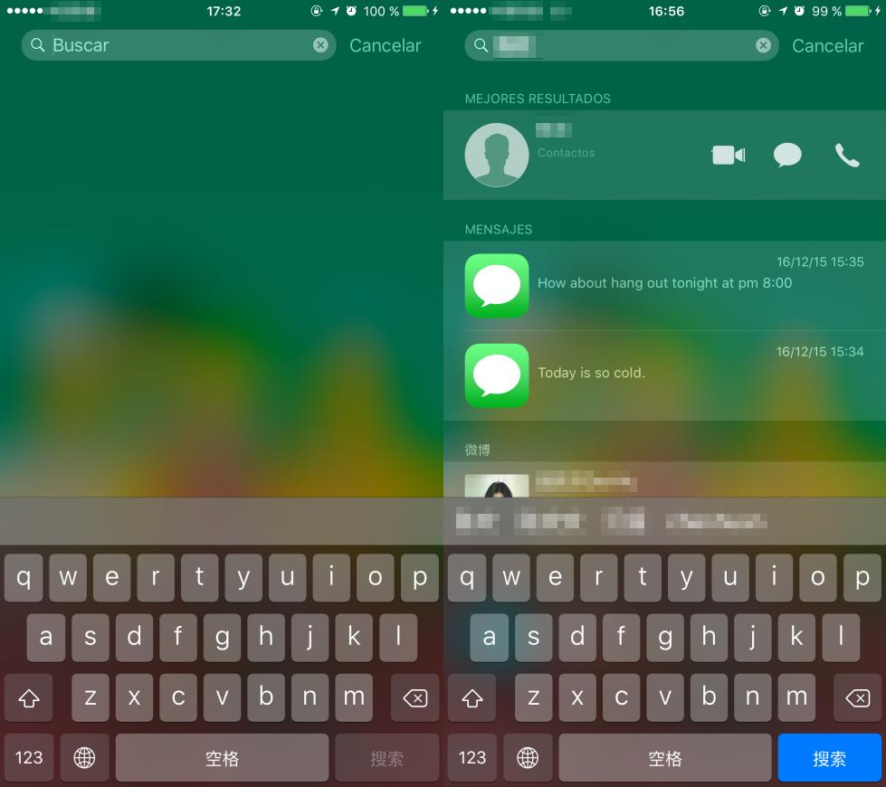 Buscar Mensajes en el iPhone 6 / 6s con Spotlight Buscar