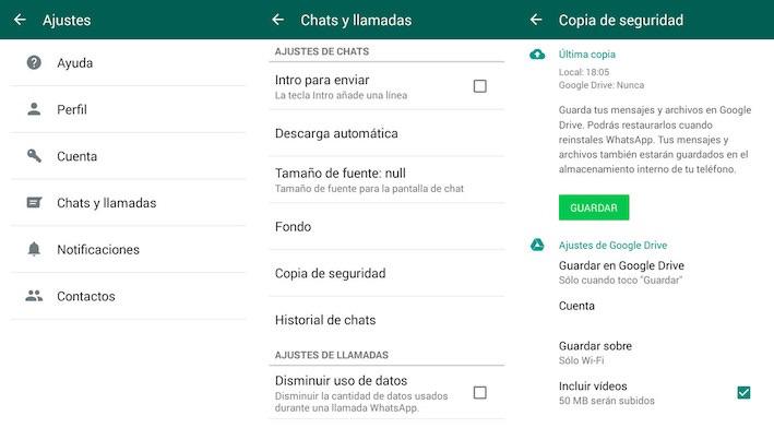 Haz una copia de seguridad de tus mensajes de WhatsApp en Google Drive