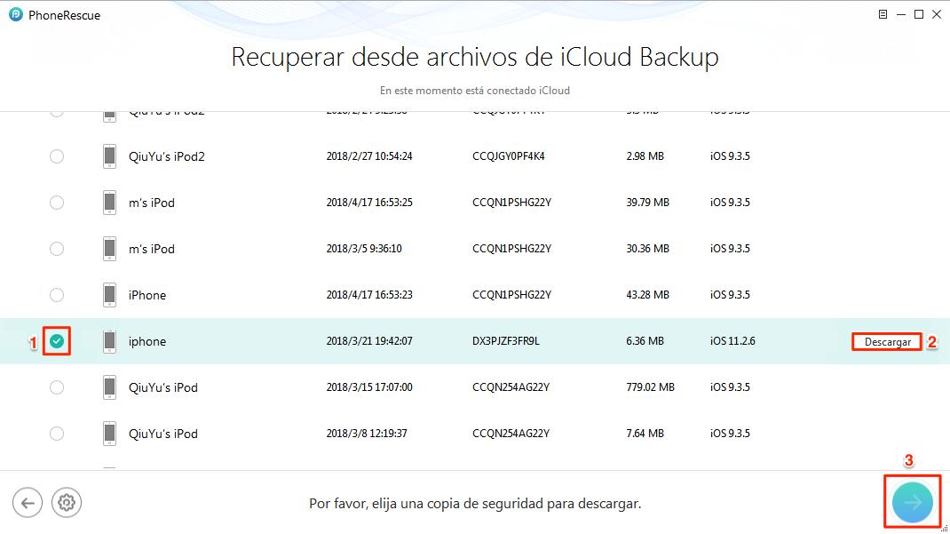 Ver iCloud copia de seguridad iPhone en PC - Paso 3