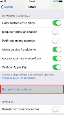 Borrar historial, caché y cookies de Safari – Acelerar iPhone
