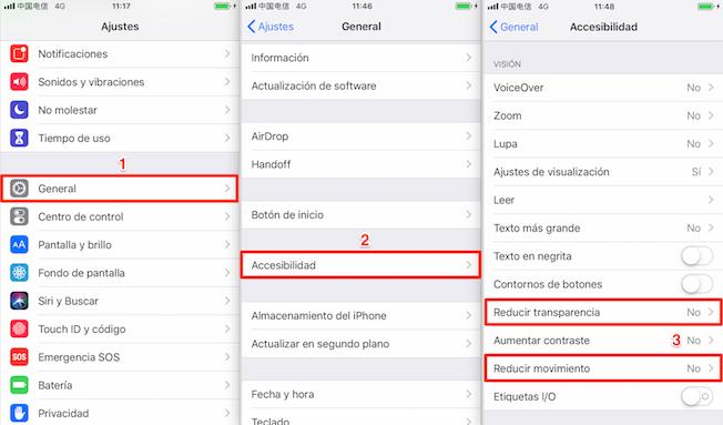 Acelerar iPhone - Cerrar características sin importancia