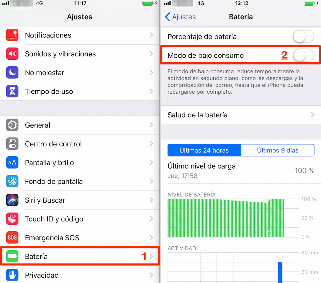 Ahorrar batería iPhone: Modo de bajo consumo