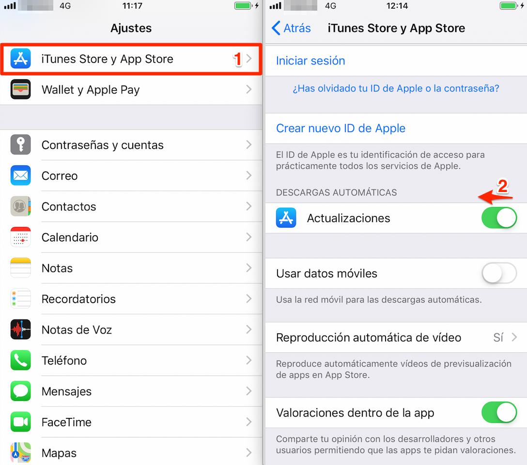 Ahorre batería iPhone - Desactiva Descargas automáticas