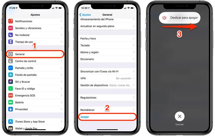 Apagar iPhone XS Max desde Ajustes - Paso 3