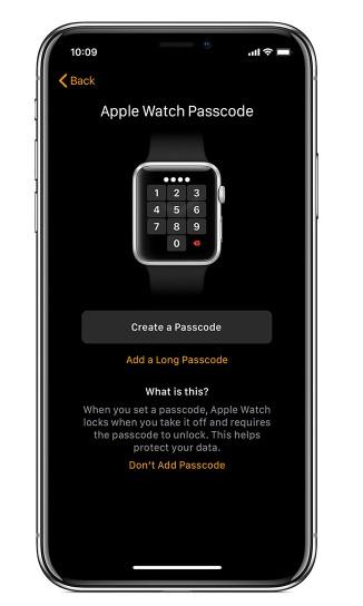 Establecer un código para el Apple Watch.