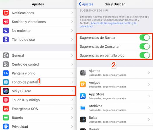 Desactiva Sugerencia de Buscar / Consultar / en pantalla bloq.