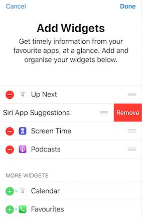 Quitar widgets de sugerencias de Siri en Hoy