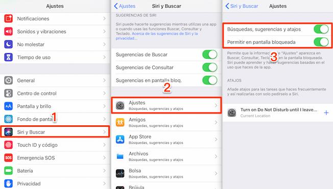 Desactivar sugerencias de Siri en una aplicación