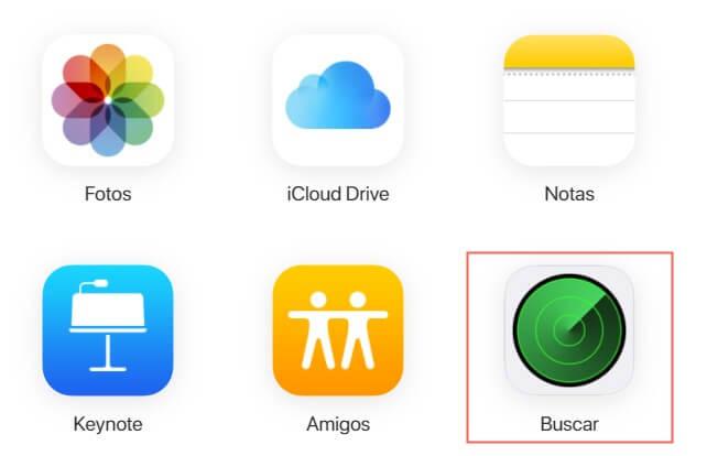 Acceso a la opción de Buscar mi iPhone en iCloud