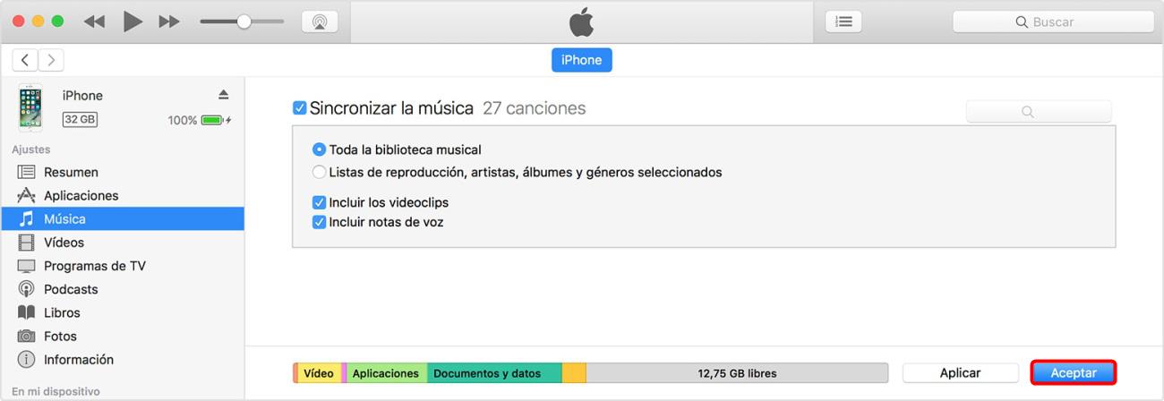 Sincronizar música con iTunes