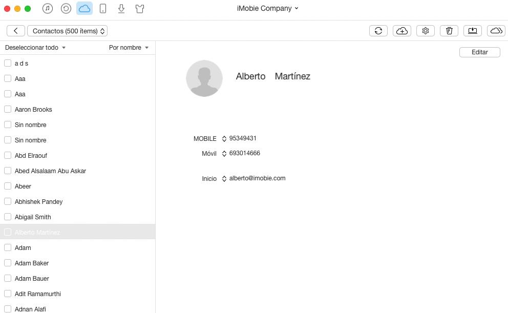 Cómo exportar contactos de iCloud con AnyTrans – Paso 3 – 1