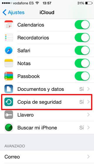 Hacer copia de seguridad de iPhone por iCloud