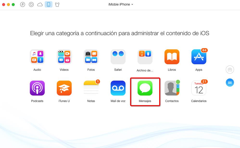 Hacer una copia de mensajes de texto de iPhone en Mac – Paso 2