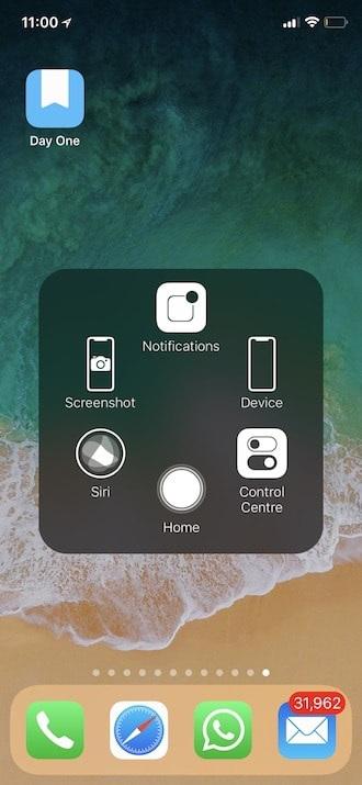 Toma la captura de pantalla en el iPhone XR, XS y iPhone XS Max con el botón táctil de asistencia - Paso 4