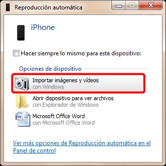 Cómo importar fotos de iPhone a PC con Reproducción automática