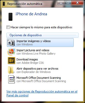 """Importar fotos del iPhone al PC con """"Reproducción automática"""""""