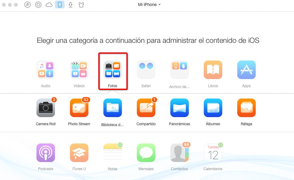 Importar fotos del iPhone al PC con AnyTrans – Paso 3