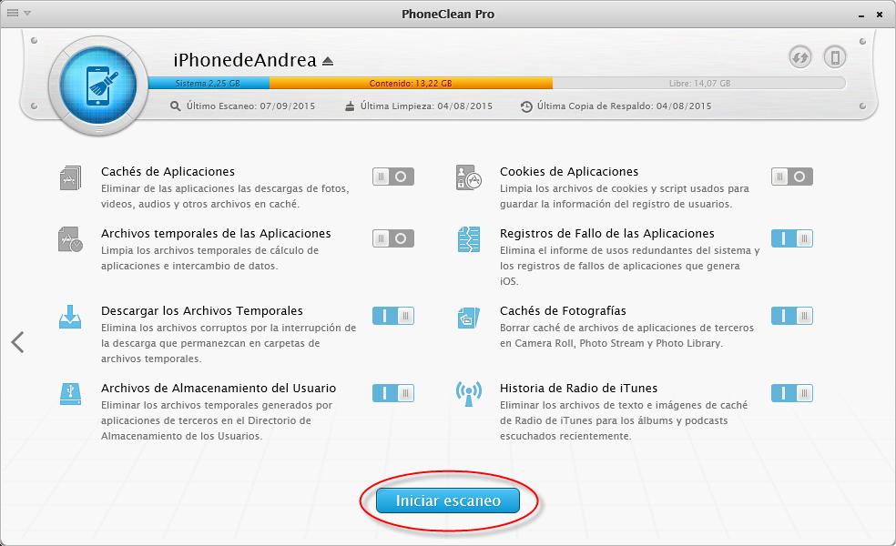 Eliminar archivos basura para hacer de su iPhone Otros Menor