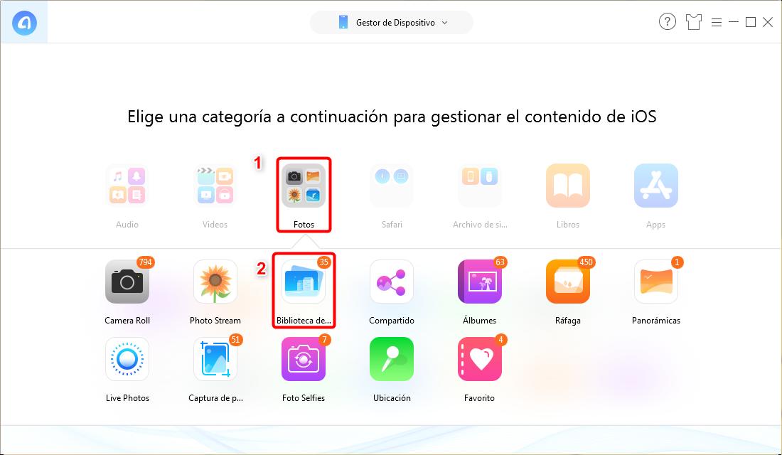 Cómo organizar fotos en iPhone/ iPad - Paso 2