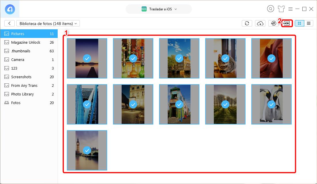 Cómo pasar fotos de Android a iPhone - Paso 3