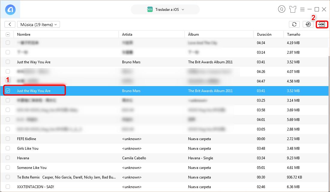 Elige las canciones para pasar de Android a iPhone