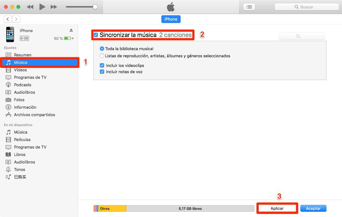 Cómo pasar música al iPhone 7/8/X con iTunes – Paso 2