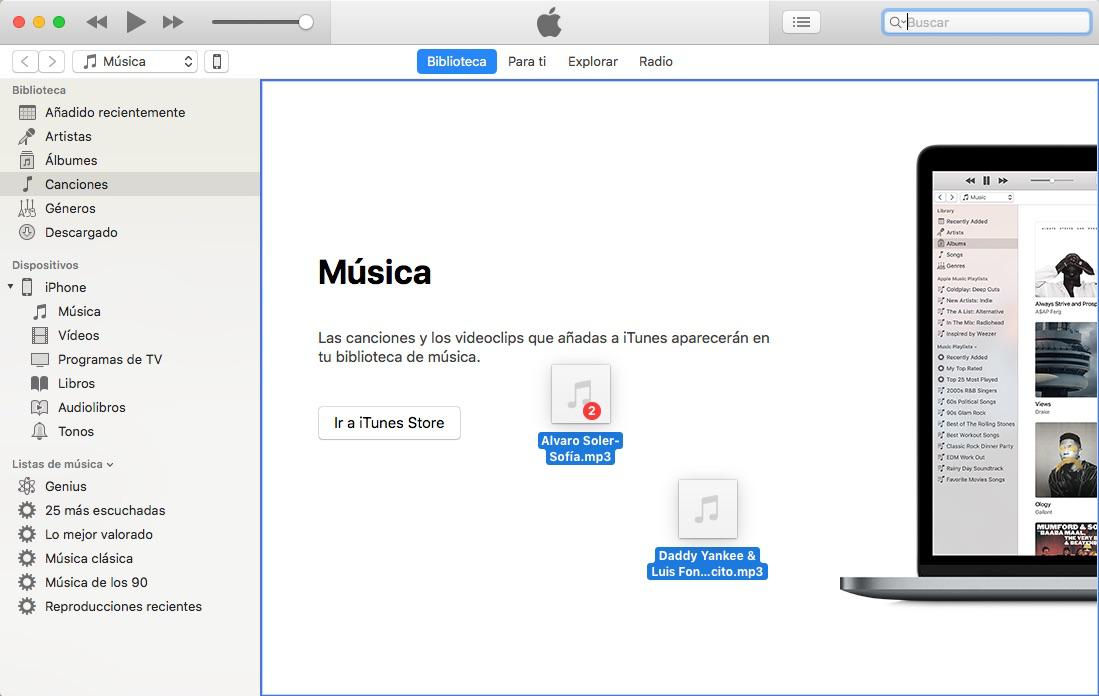 Pasar música al iPhone del ordenador con iTunes-Paso 1