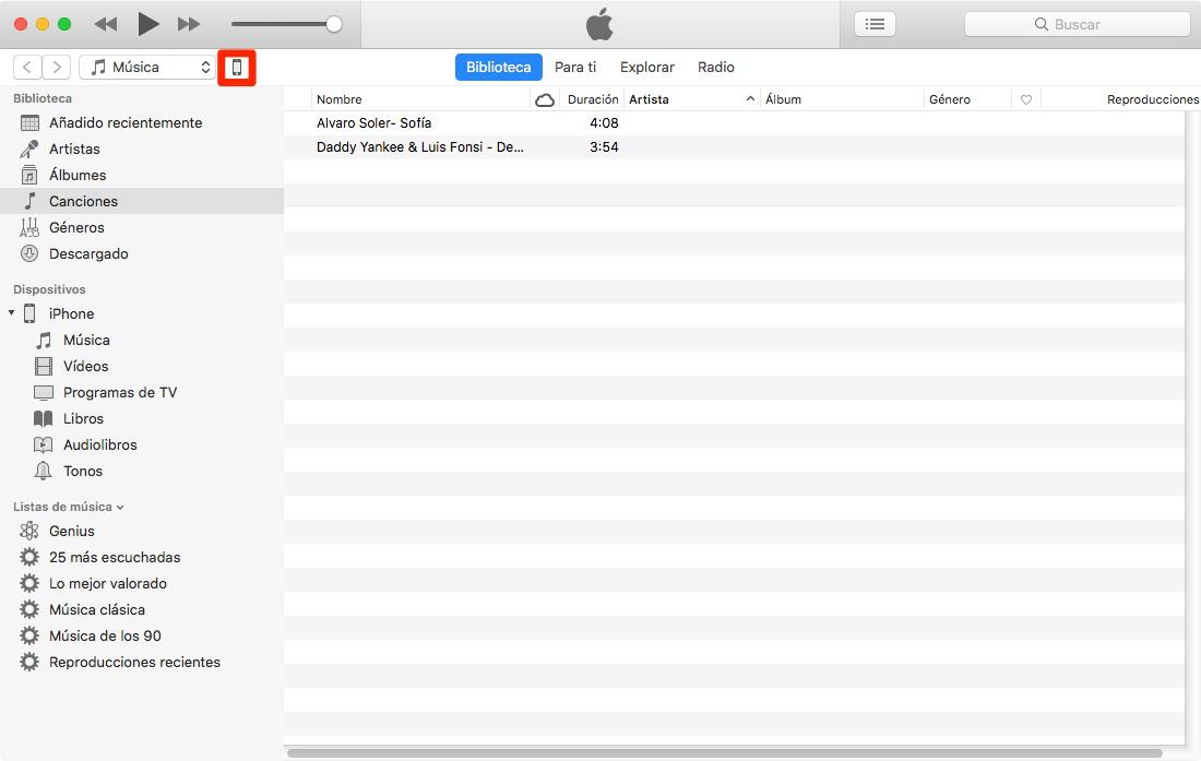 Pasar música al iPhone del ordenador con iTunes-Paso 2