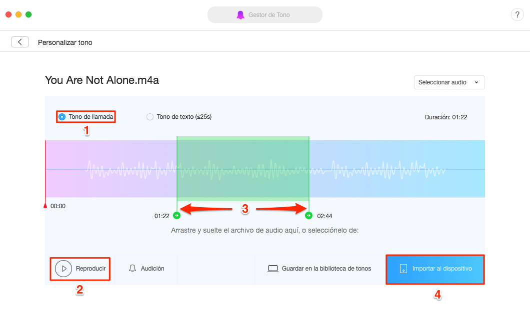 Cómo poner tono de llamada en iPhone 7 (Plus)/8/X/XS (Max)/XR – Paso 4