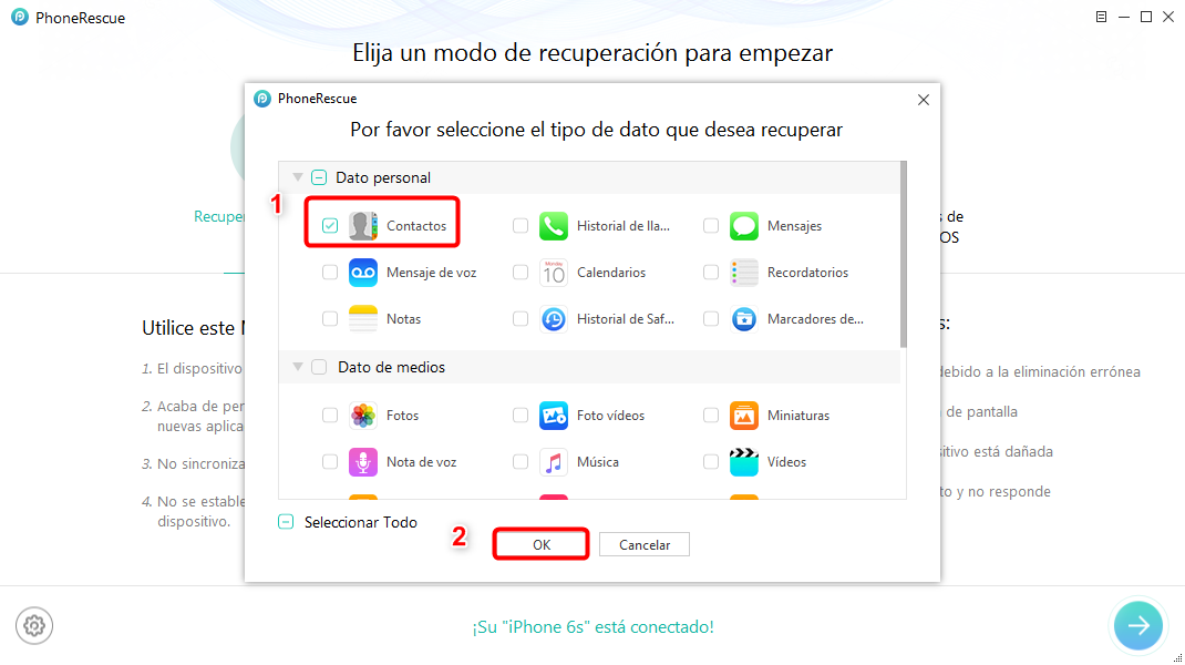 Cómo recuperar contactos de iPhone 5/ 5s/ 6/ 6s - Paso 2