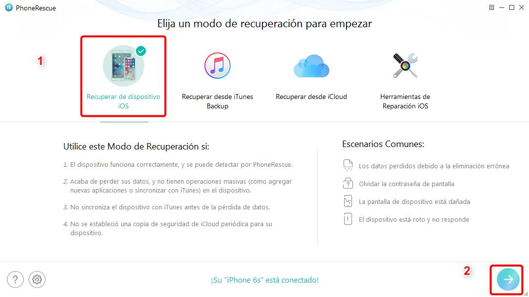 Recuperar contactos iPhone roto directamente - Paso 1