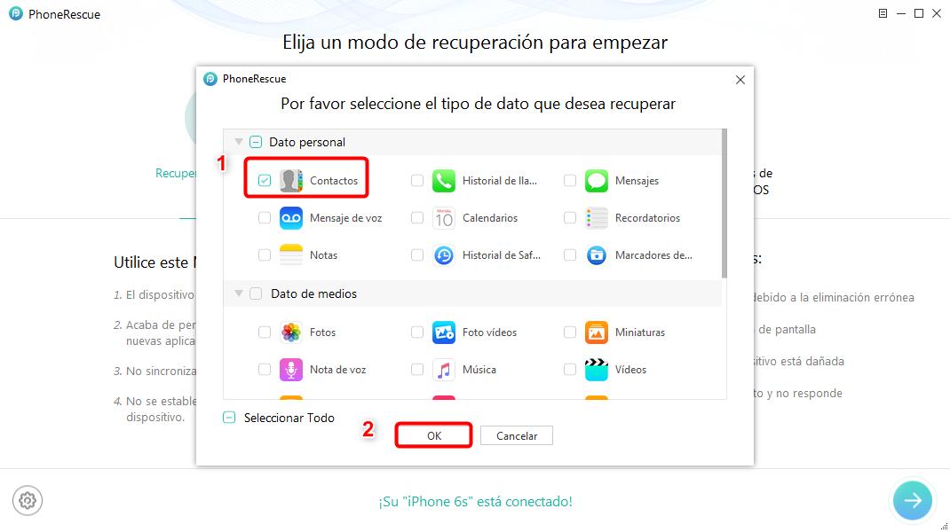 Recuperar contactos iPhone roto directamente - Paso 2