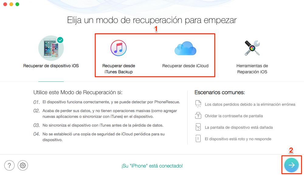 Recuperar contactos iPhone roto desde copia de iTunes/iCloud de manera selectiva