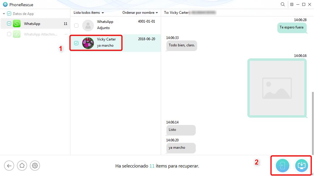 Cómo recuperar conversaciones de WhatsApp borradas sin copia de seguridad - Paso 3