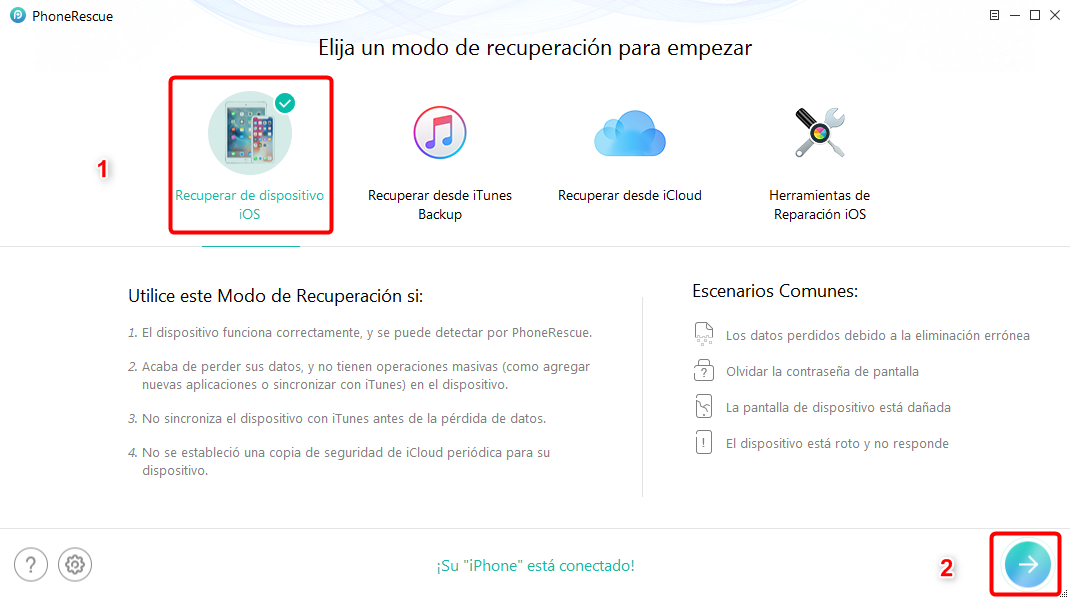 Cómo recuperar datos de iPhone sin copia de seguridad - Paso 2