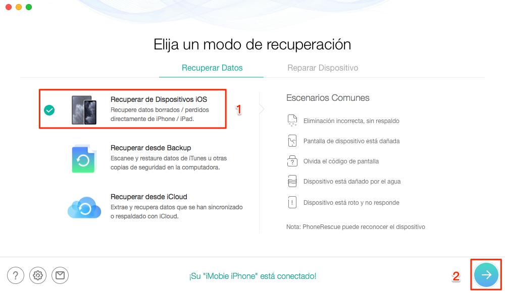 Recuperar fotos borradas con PhoneRescue para iOS - Paso 1