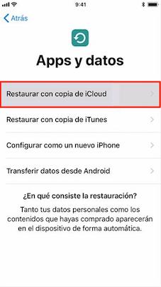 Elige restaurar con iCloud copia - Paso 2