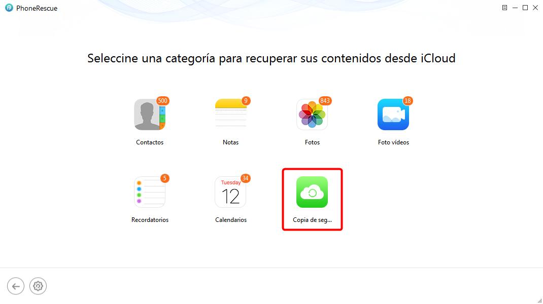 Selecciona iCloud copia - Paso 4