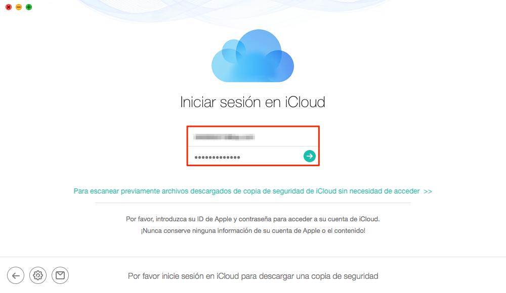 Iniciar sesión en tu cuenta de iCloud - Paso 2