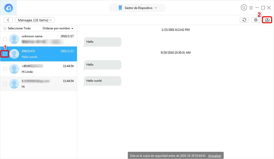 Cómo guardar mensajes de texto en iPhone - Paso 3