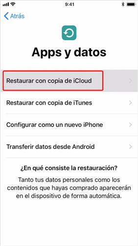 Restaurar copia de seguridad de iCloud por si mismo