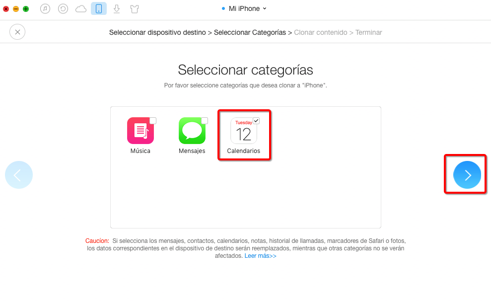 Sincronizar Calendario de iPhone con AnyTrans – paso 4