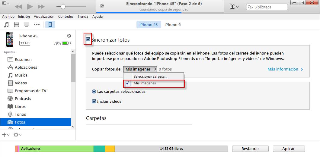 Cómo transferir fotos desde el iPhone a iPhone con iTunes