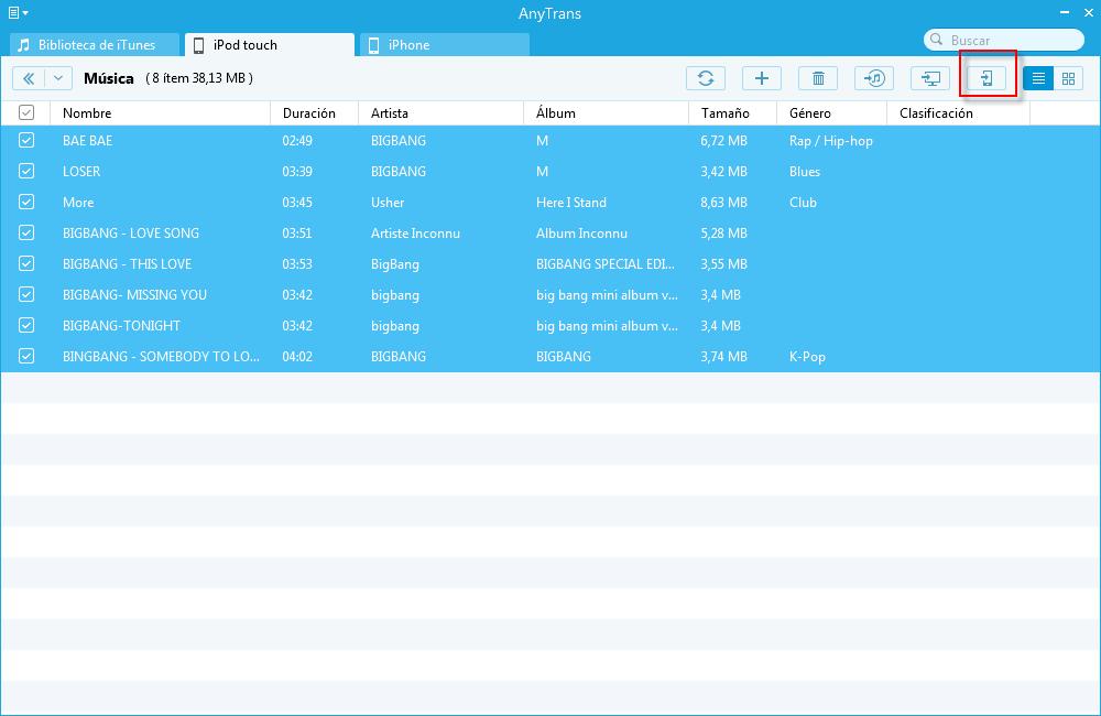 Cómo transferir música del iPod al iPhone con AnyTrans - Paso 2